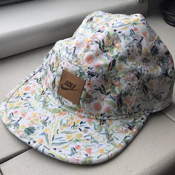 5ebff5272 RARE Nike Golf Floral Print Hat Adj. Leather Strap NWT